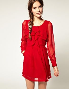 Love the red!! And I love that sheer long sleeves seem to be coming in. Who ever said classic can't be fashion-forward?