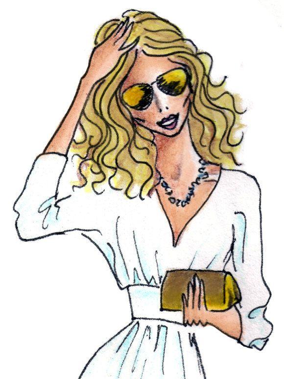 Carrie Bradshaw fashion art print.
