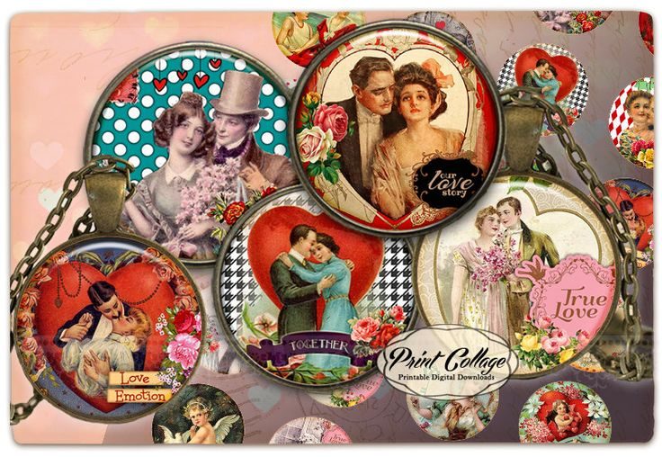 Cabochon images Digital Collage Sheet -Valentine Love-  1.5 inch 16mm 12mm 1 inch digital download Bottle Cap images printable download c223 - pinned by pin4etsy.com