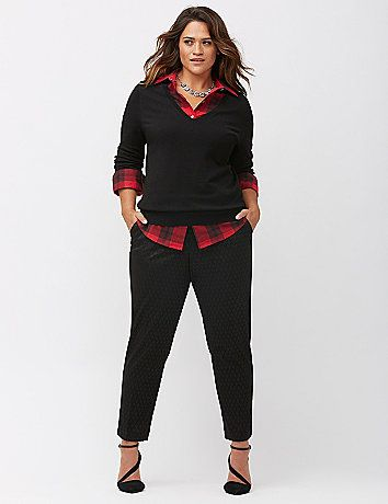 Love this fall look! Rich patterned jacquard elevates the look of our sophisticated ankle pant. lanebryant.com