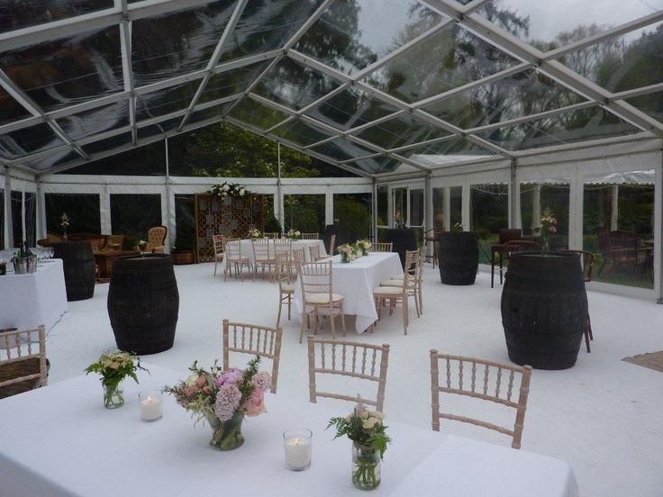 Clear marquee for BBQ reception on second day of Wedding. www.pavilionmarquees.com