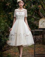 Бесплатная доставка мода новое поступление питер пэн воротник рисунком вышивка Ou Gensha шифоновое платье