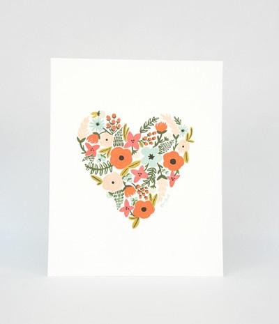 Rifle Paper Co Print - 20 x 25cm - Floral Heart
