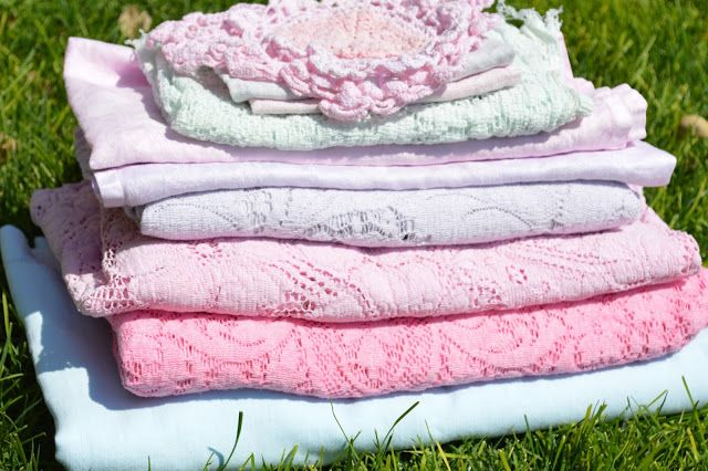 Dyeing Vintage Linens with Pink Rit Dye, lace tablecloths