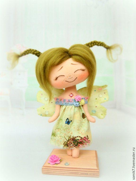 """Купить Букашечка """"Летняя"""" - кукла, салатовый, коллекционная кукла, кукла ручной работы, кукла интерьерная"""