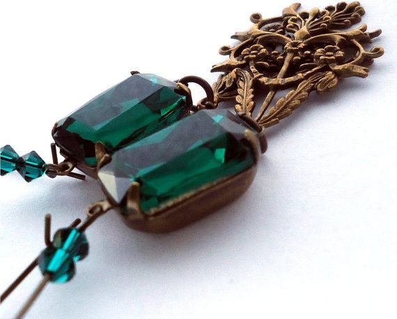 Filigree Leaves  Emerald Green  antiqued brass by floretteboutique, $28.50