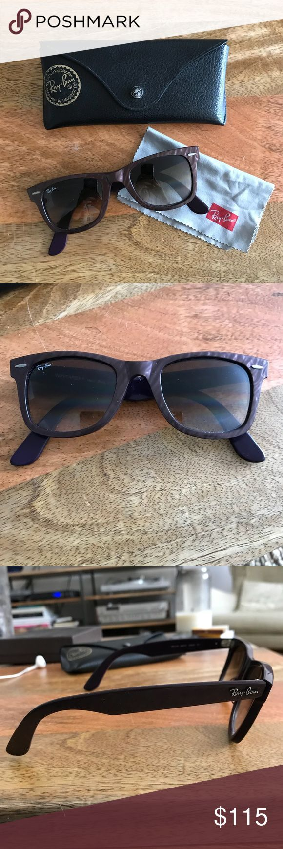 🕶Ray-Ban Original Wayfarer Sunglasses Purple Special edition purple metallic with gradient lens available for purchase! Comes with dust cloth. Glasses are in excellent condition and case has a little wear. Ray-Ban Accessories Sunglasses