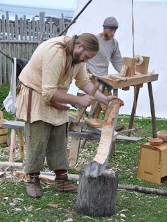 Members of DARC woodworking at L'Anse aux Meadoes