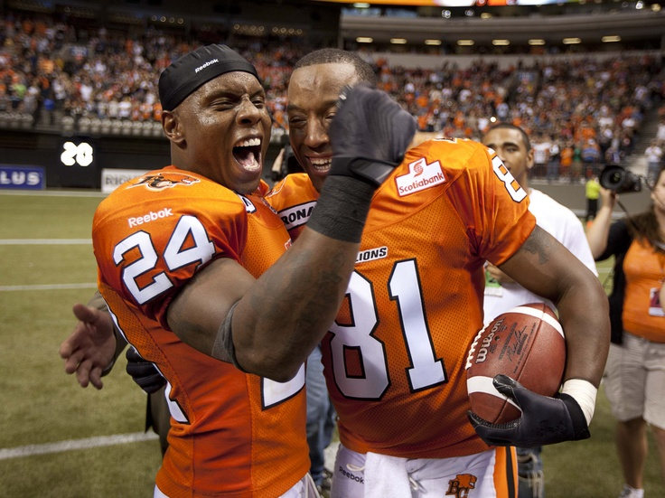 Gotta love Korey's enthusiasm!  Korey Banks and Geroy Simon after Geroy sets the all-time CFL receiving record.  June 29, 2012