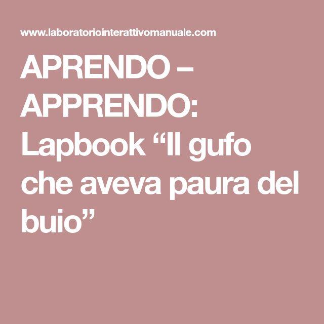 """APRENDO – APPRENDO: Lapbook """"Il gufo che aveva paura del buio"""""""