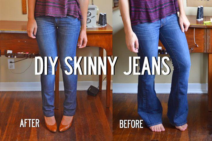 Sally Ann: DIY Skinny Jeans Image heavy EASY tutorial. Never get rid of flare leg jeans again!