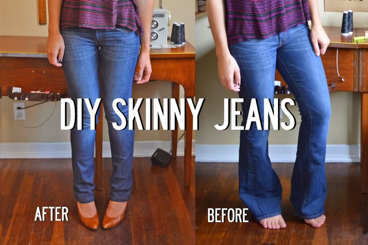 Sally Ann: DIY Skinny Jeans Image heavy EASY tutorial. Never get rid of flare leg jeans again!