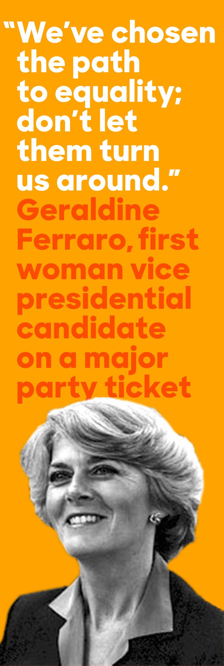 On this day in '84, the Democratic Party nominated Geraldine Ferraro—the first woman VP nominee on a major party ticket.