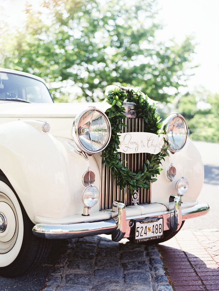 Wreath for Get-Away Car -- See the wedding from Strawberry Milk Events StrawberryMilkEvents.com on #SMP here:  http://www.StyleMePretty.com/2014/05/01/oh-so-classic-nautical-wedding/ Photography: ErichMcVey.com