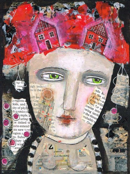 Mixed media painting collage Print art whimsical woman red hair sweet houses by kittyjujube on Etsy