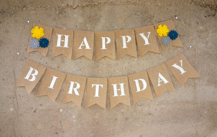 Happy Birthday Banner, Burlap Birthday Banner With Felt Flowers by PinkAndBlueSugar on Etsy
