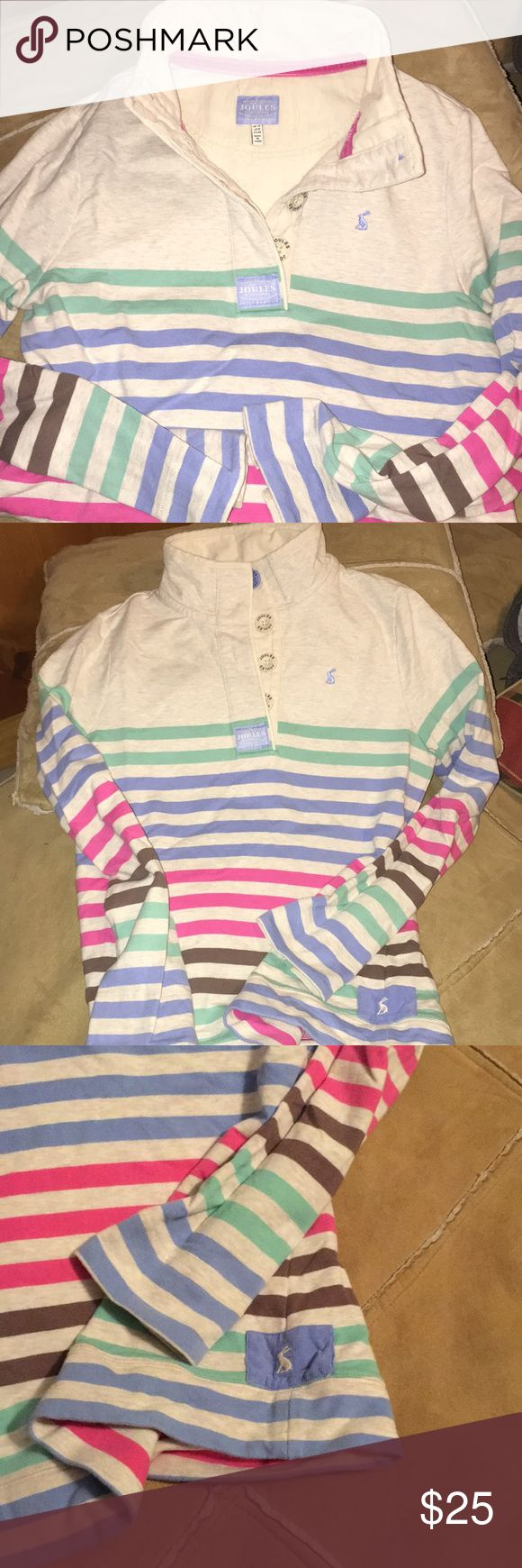 Joules pullover woman's size 8 Pastel striped pullover in great used condition, worn only a few times Joules Tops