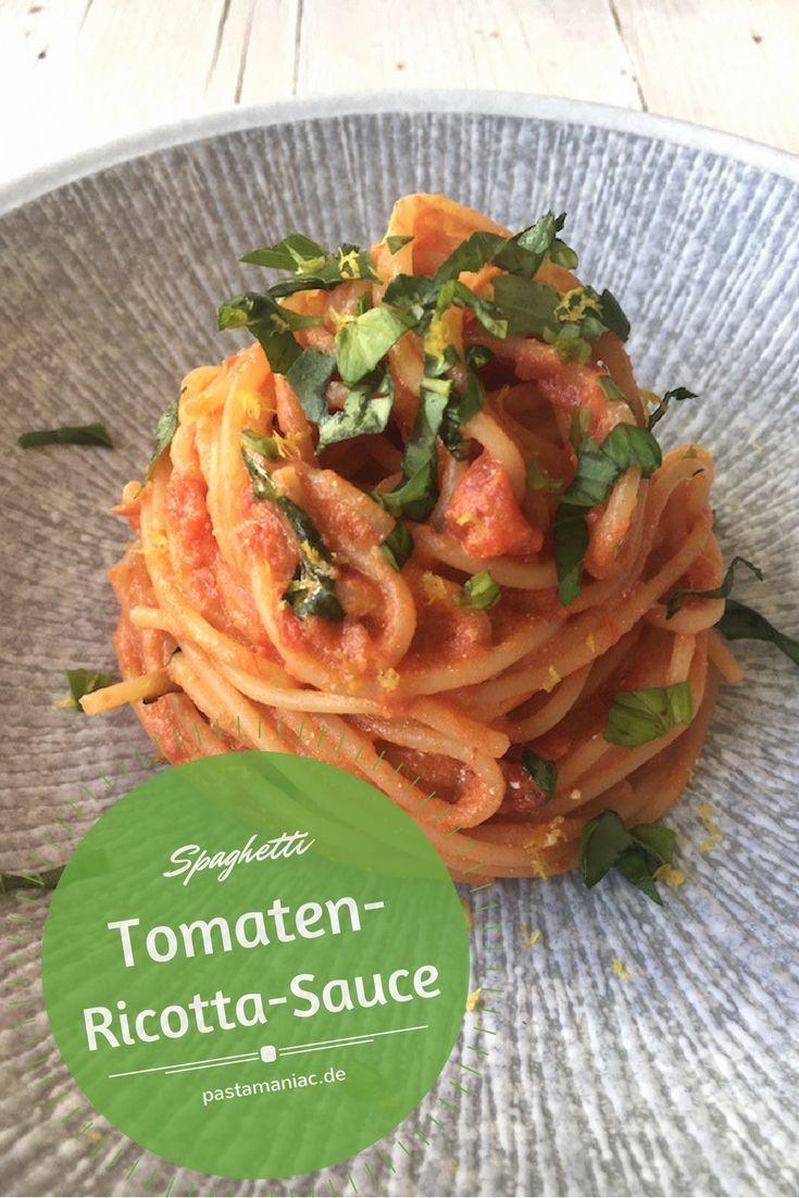 Cremig zarte Tomatensauce mit Ricotta, Basilikum und Zitronenabrieb. Vegetarisch.   Nudeln mit Tomatensauce, Pasta