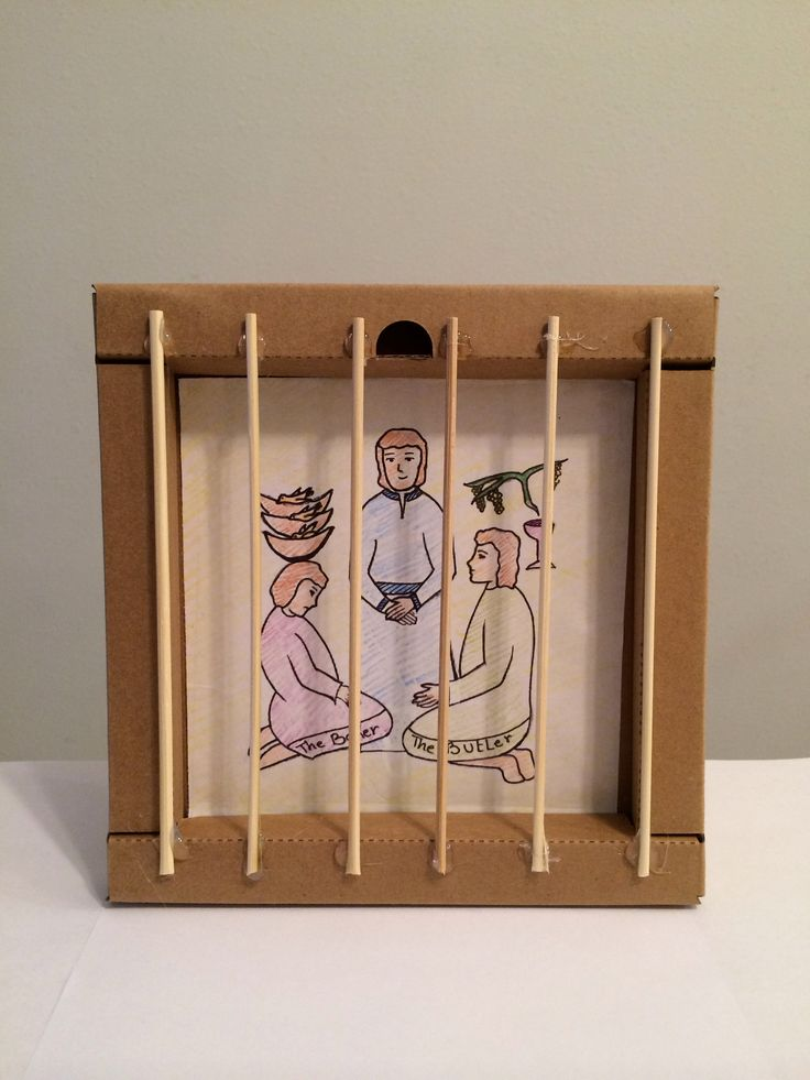 Joseph In Prison Make With 4 Popsicle Sticks And Round Lolipop Glue A Small Picture Of To The Back