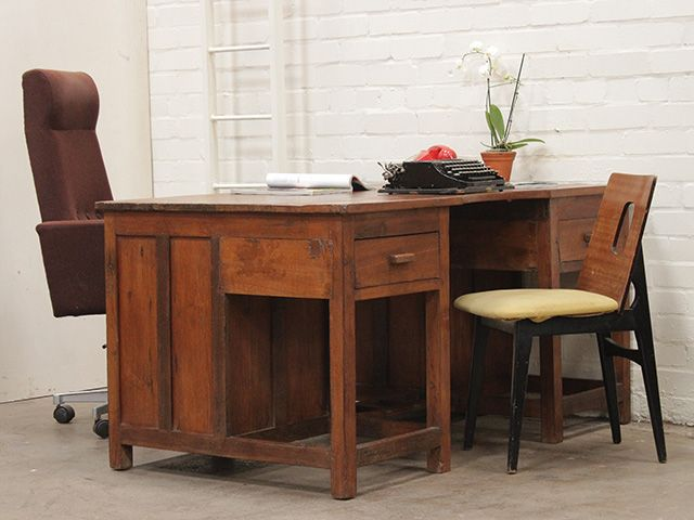 Vintage Solid Teak Office Desk