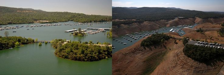 Lake Oroville water levels affect Lake Oroville - that California drought is really biting now...