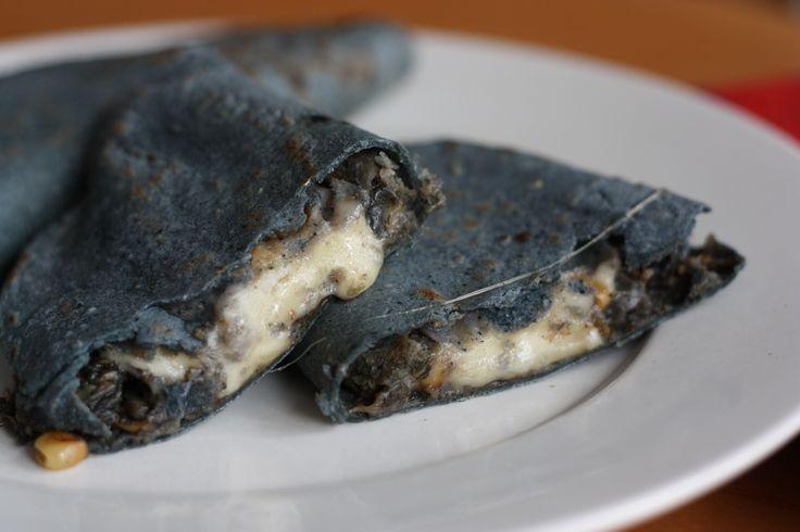 huitlacoche quesadillas on blue-corn tortillas