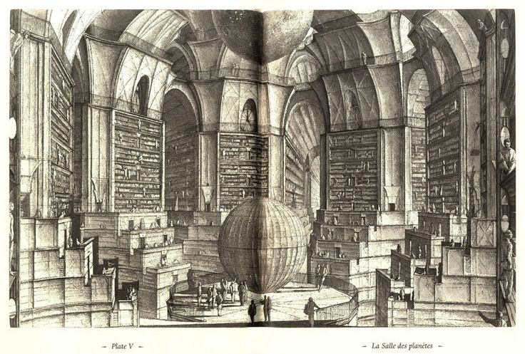 etching by Eric Desmazieres for The Library of Babel by Jorge Luis Borges