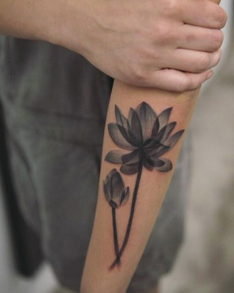 X-ray lotus flowers on forearm by Joice Wang