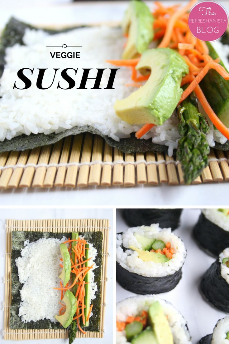 Veggie Sushi- making your own sushi is easier than you think! This recipe is simple and delicious and full of veggies! | The Refreshanista #vegan #recipe #sushi