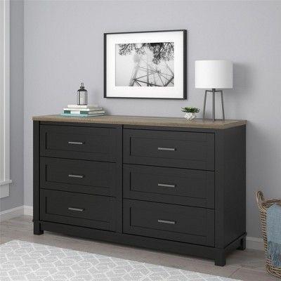 carver 6 drawer dresser blacklight brown ameriwood home gray