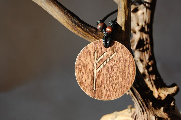 "Fehu rune necklace ""Blessing and prosperity"" charm. Marquetry Oak & Mahogany wood by RunicJewellery on Etsy"