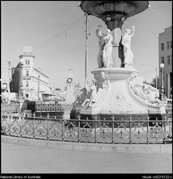 1941- View of fountain and City Family Hotel