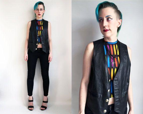 80s Clothes / Vintage Leather Vest 1980s Vest Leather Biker Vest Black Leather Vest Sea Dream Leather Mens Size Small Medium