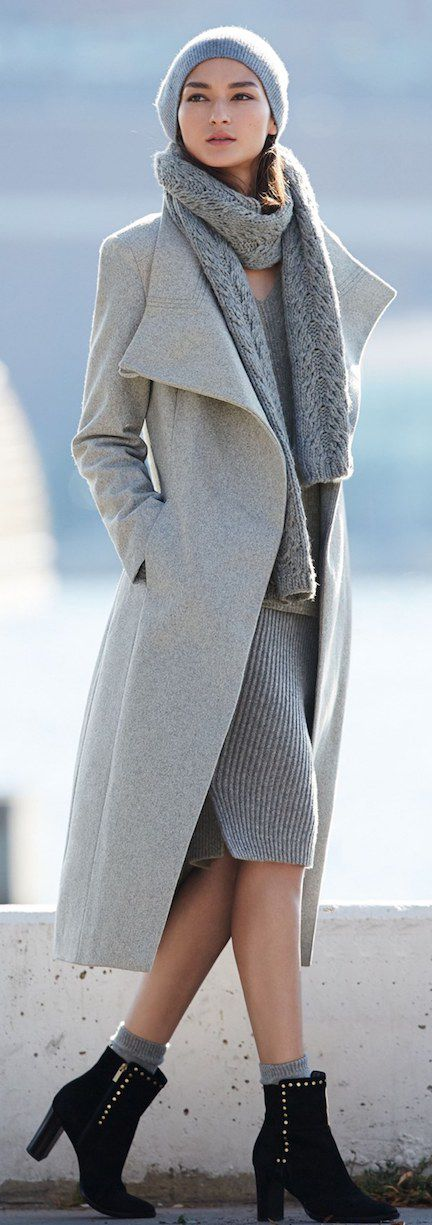 Kenneth Cole New York Gray Wool Blend Maxi Wrap Coat