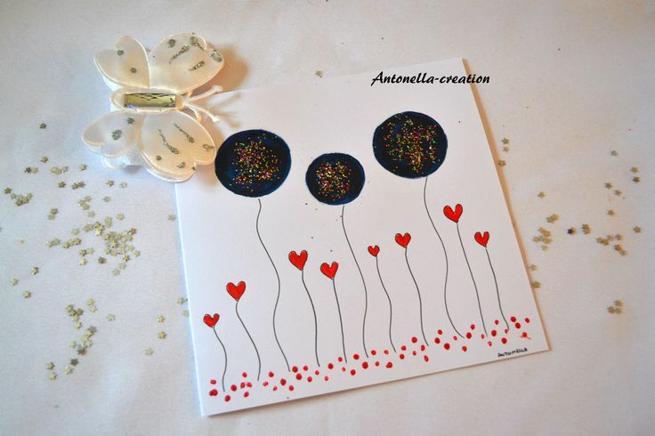 Carte de voeux peinte à la main - Carte d'art illustrée fait main - Carte toutes occasions : Cartes par antonella-creation