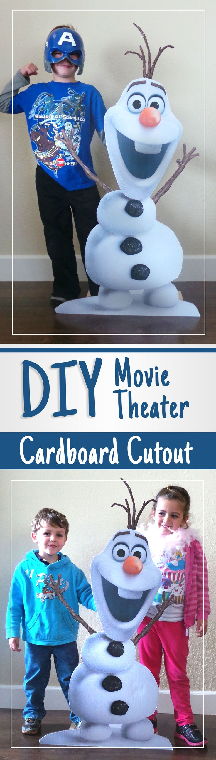 DIY movie theater cutouts. Easy to make cardboard stand ups for your parties using free printables! Check out our DIY Olaf stand up for taking pictures at birthday parties!