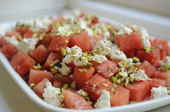 watermelon & goat cheese.....blue cheese makes a yummy alternative to the goat cheese