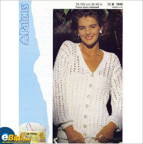 Ladies cotton cardigan / sweater knitting pattern womens Patons patterns 7848...