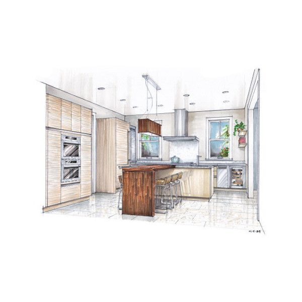 architectural hand drawing found on Polyvore
