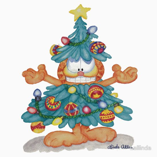 Garfield Christmas Watercolor T-Shirt Print and Cards