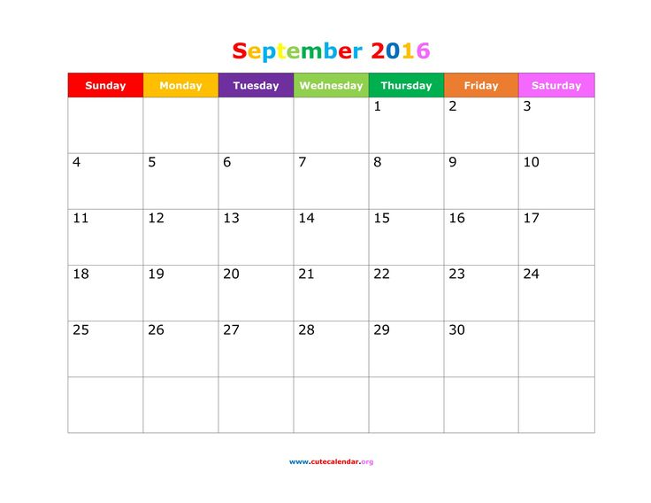 September calendar, 2016 calendar and Calendar on Pinterest