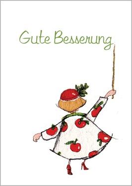 Herzliche Genesungskarte: Gute Besserung im Apfel Kleid