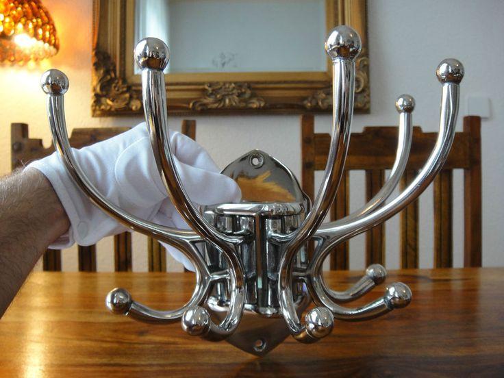 Luxus Wandgarderobe 10 Haken Edel Silber Garderobe Jugendstil Antik Wandhaken