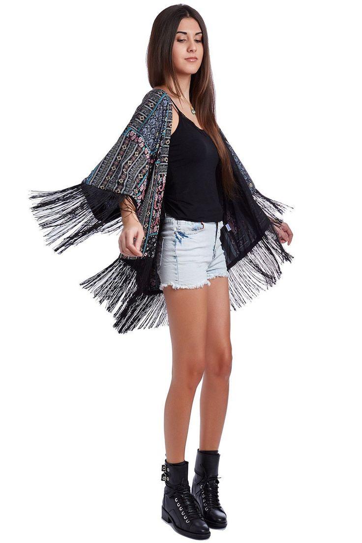 Fringed kimono in print