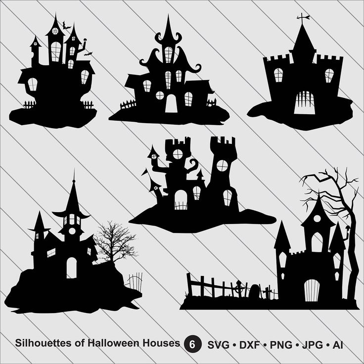 Silhouettes of Halloween Houses, Halloween Clipart, Haunted House svg Cut File,DXF,PNG Use with Silhoutte Studio & Cricut Instant Download