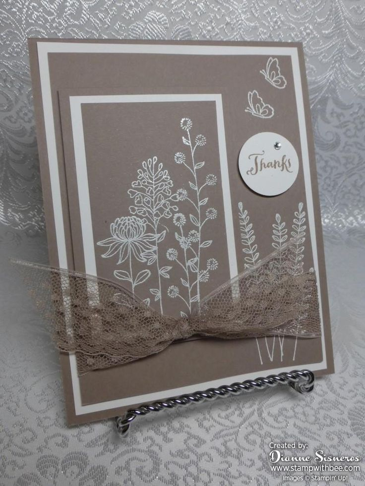 Tip Top Taupe and Whisper White give this card a great two tone look. Sometimes you wonder what you can do with a stamp set….this works great with these fine designs. The images were stamped with versamark and heat embossed with whisper white. Supplies: Flowering Fields Clear-Mount Stamp Set [141303] $0.00 Another Thank You Photopolymer …