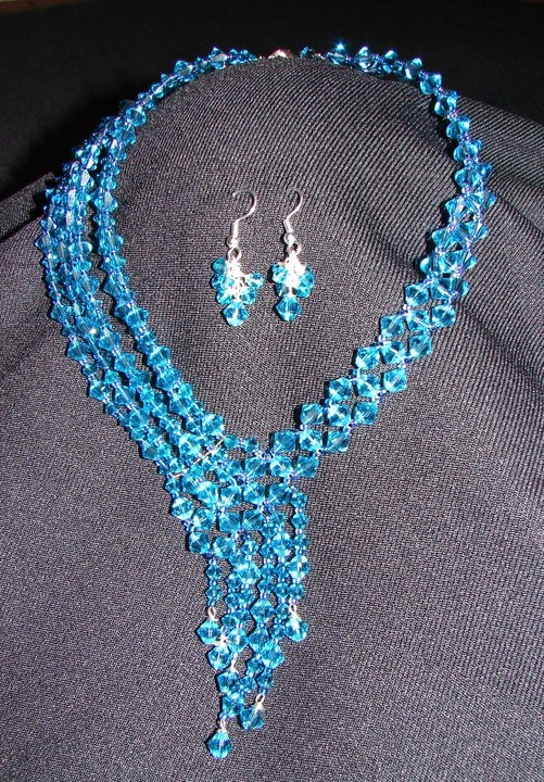 Swarovski Crystal Necklace and earrings I made for my cousin's ballroom dance competition.