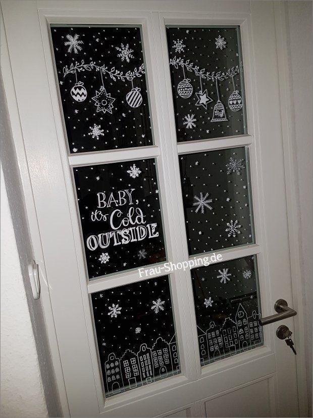 Weihnachtliche Fensterbilder mit Kreidestift (Frau Shopping)