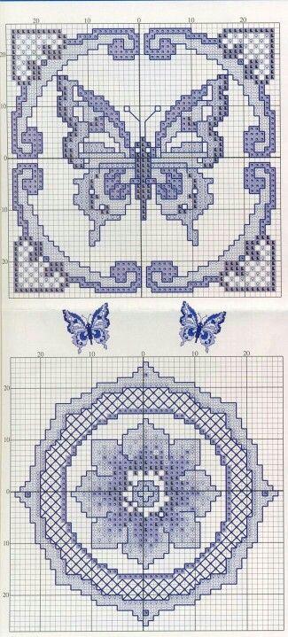 Butterflies & Flower Blue Tones