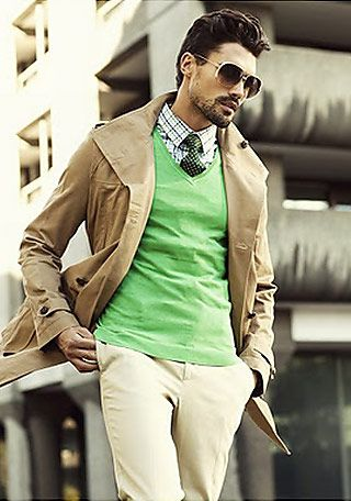 beige Trench coat, Accent Collar:Yellow-green,D-green  #Fashion #Men's
